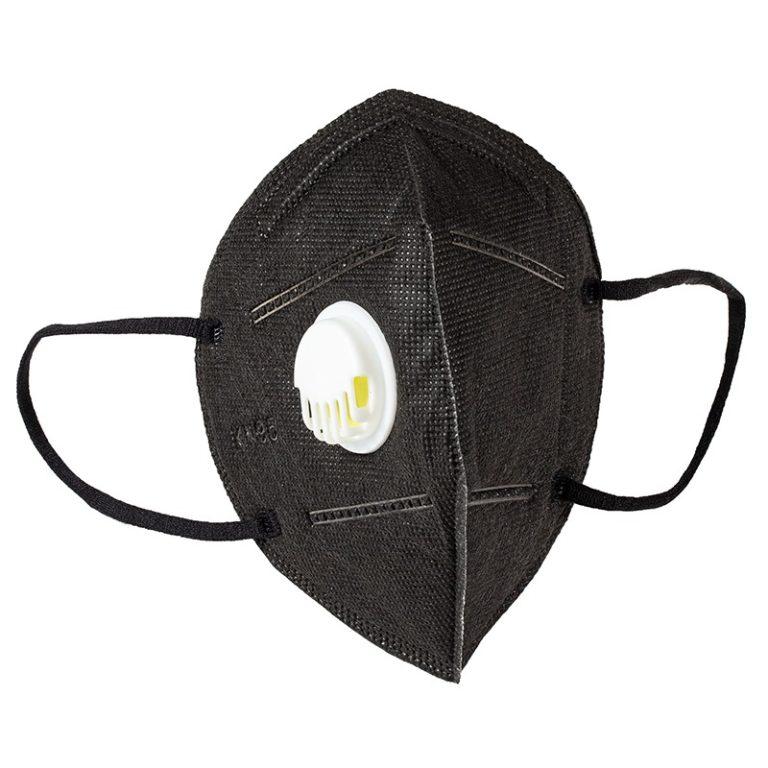 Set 5 Masti cu 5 straturi de protectie respiratorie cu supapa, valva pentru expiratie standard FFP2 /KN95/ N95 / NEGRU