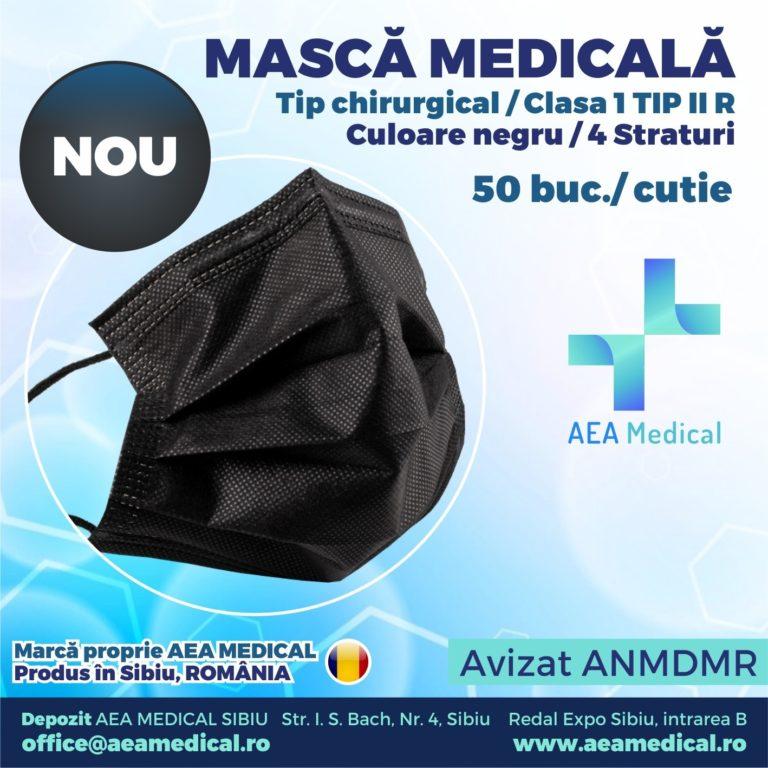 Masca medicala de  tip chirurgical TIP II R- ambalare *1 CUTIE 50 buc / marca proprie AEA MEDICAL produs in ROMANIA / SIBIU -4 STRATURI  -culoare NEGRU