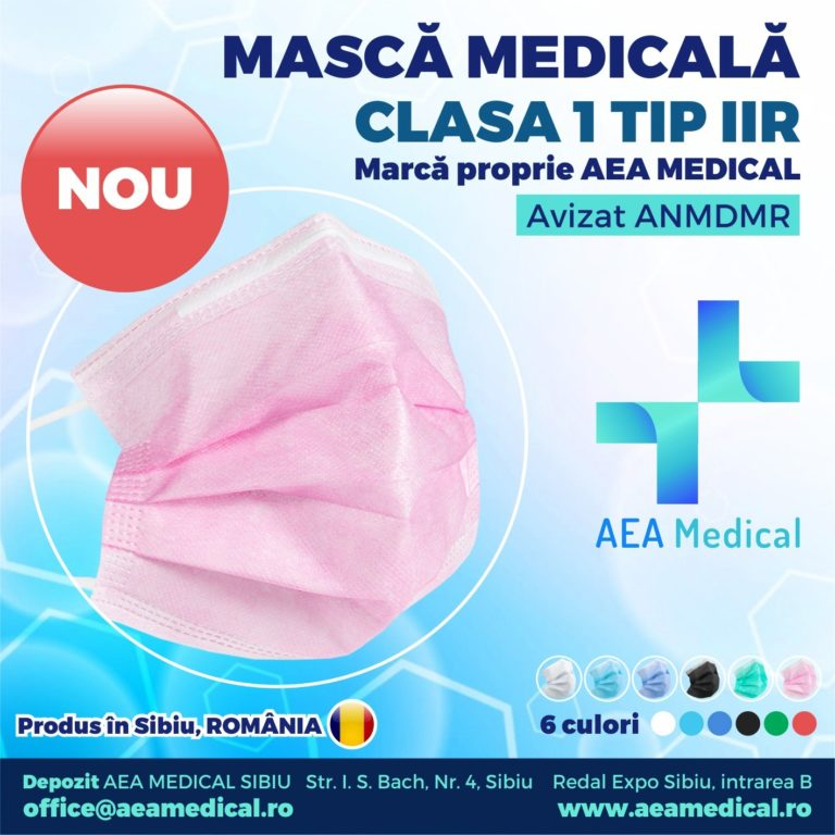 Masca faciala de uz medical de tip chirurgical / Clasa 1 TIP II R / ambalare *1 CUTIE 50 buc / marca proprie AEA MEDICAL produs in ROMANIA / SIBIU- Aviz ANMDMR RO /I /361 /863- culoare ROZ