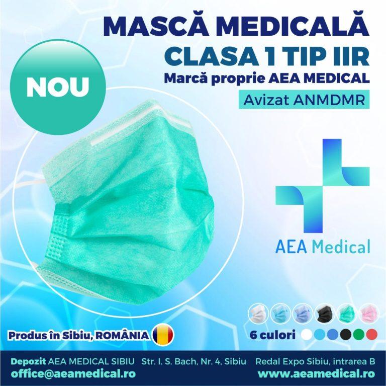 Masca faciala de uz medical de tip chirurgical / Clasa 1 TIP II R / ambalare *1 CUTIE 50 buc / marca proprie AEA MEDICAL produs in ROMANIA / SIBIU- Aviz ANMDMR RO /I /361 /863- culoare VERDE