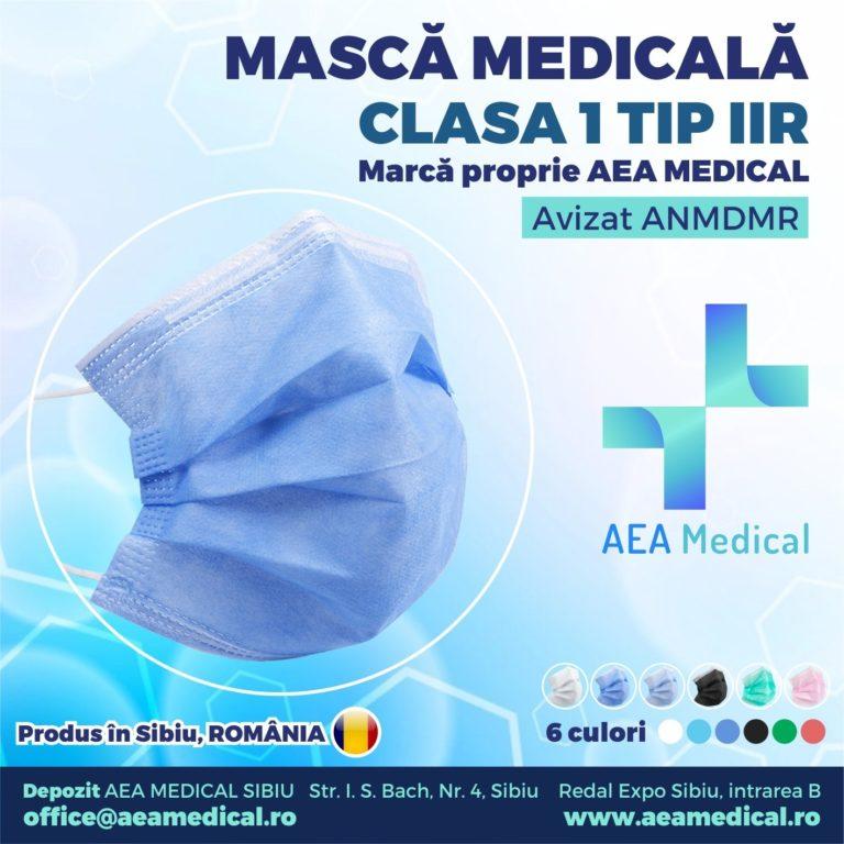 Masca faciala de uz medical de tip chirurgical Clasa 1 TIP II R /ambalare *1 CUTIE 50 buc /  marca proprie AEA MEDICAL produs in ROMANIA / SIBIU- AVIZ ANMDMR RO /I /361 /863-culoare ALBASTRU