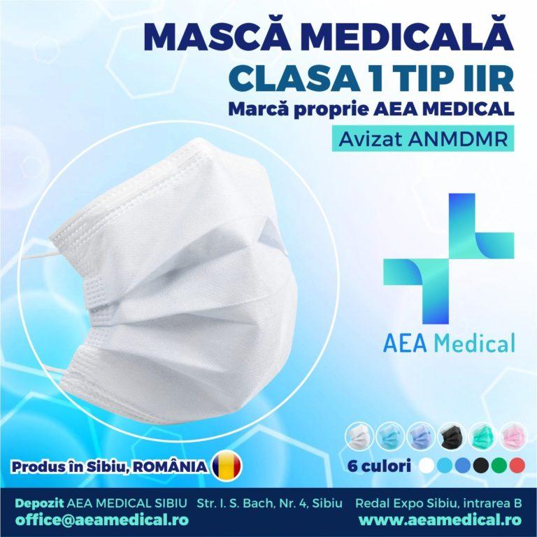 Masca faciala de uz medical de tip chirurgical / Clasa 1 TIP II R – ambalare *1 CUTIE 50 buc / marca proprie AEA MEDICAL produs in ROMANIA / SIBIU-AVIZ ANMDMR – RO /I /361 /863- culoare ALB