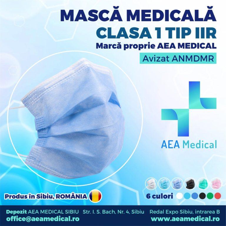 Masca faciala de uz medical de tip chirurgical -Clasa 1 TIP II R / ambalare *1 CUTIE 50 buc /  marca proprie AEA MEDICAL produs in ROMANIA / SIBIU -AVIZ ANMDMR -RO /I /361 /863-culoare MOV