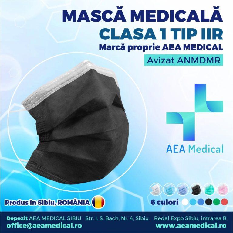 Masca faciala de uz medical de  tip chirurgical /Clasa 1 TIP II R- ambalare *1 CUTIE 50 buc /  marca proprie AEA MEDICAL produs in ROMANIA / SIBIU -AVIZ ANMDMR RO /I /361 /863 -culoare NEGRU